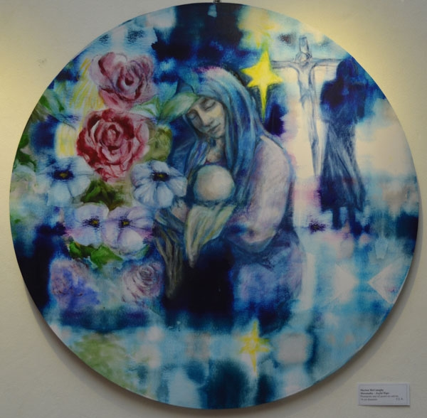 """Maranatha - Joyful Hope"", photoprint and oil pastel on canvas, 74cm diameter"