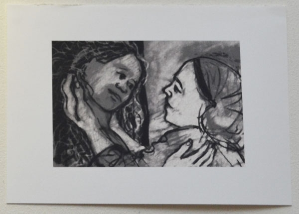 """Mary and Elisabeth meet"", drawing, 20cm x 15cm"