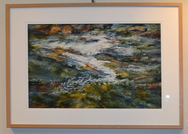 "Roslyn Hartwig: ""Let the river reveal the ancient path"", Watercolour, 50 x 70cm"