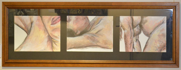 """Brooke Smith: """"Physical Journey"""", Acrylic and charcoal, set of 3, 60 x 20cm"""