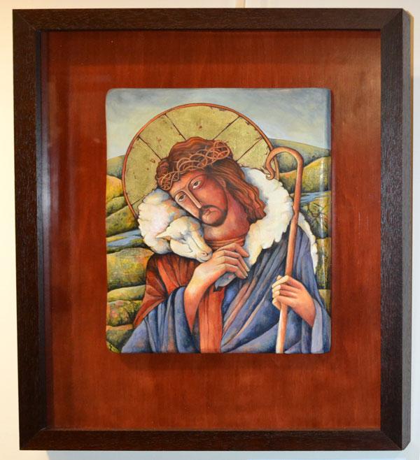 """Dianne Minnaar: """"The Good Shepard"""", Mixed media on wood, 60 x 49cm"""