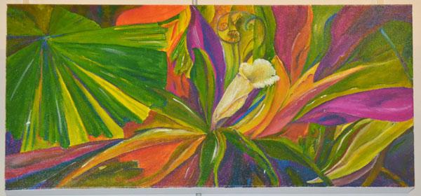 "Gregg Nowell: ""Consider the wild flowers"", Acrylic on canvas, 25 x 50cm"