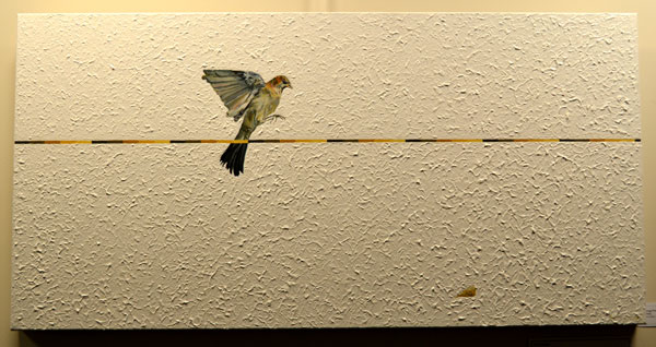 """Gregg Nowell: """"Watching"""", Mixed media on canvas, 50.1 x 100.1cm"""