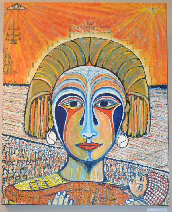 "Peter Hunter: ""At the start of the journey there was ""WOMAN"" -Pharaoh's daughter (Exodus 2:5-10)"", Oil on canvas, 90 x 120cm"