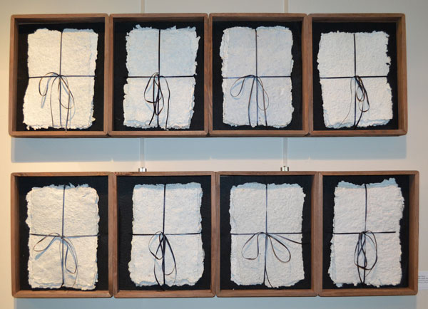 "Sue Oliver: ""The Eighth Day"", Handmade paper with timber assemblage, 29 x 190cm"