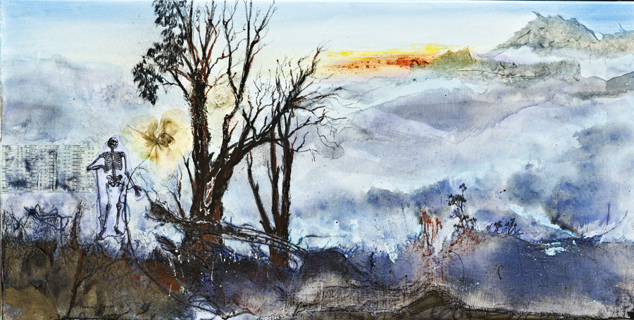 "Tricia Reust: ""Dust to Dawn"", Mixed Media, 46cm x 92cm"